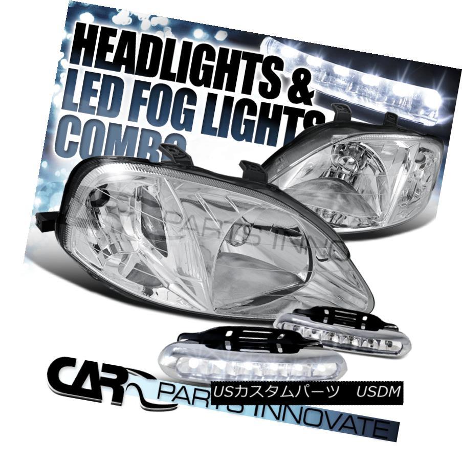ヘッドライト For Honda 99-00 Civic JDM Crystal Chrome Headlights+6-LED Bumper Fog Lamps ホンダ99-00シビックJDMクリスタルクロムヘッドライト+ 6-L  EDバンパーフォグランプ