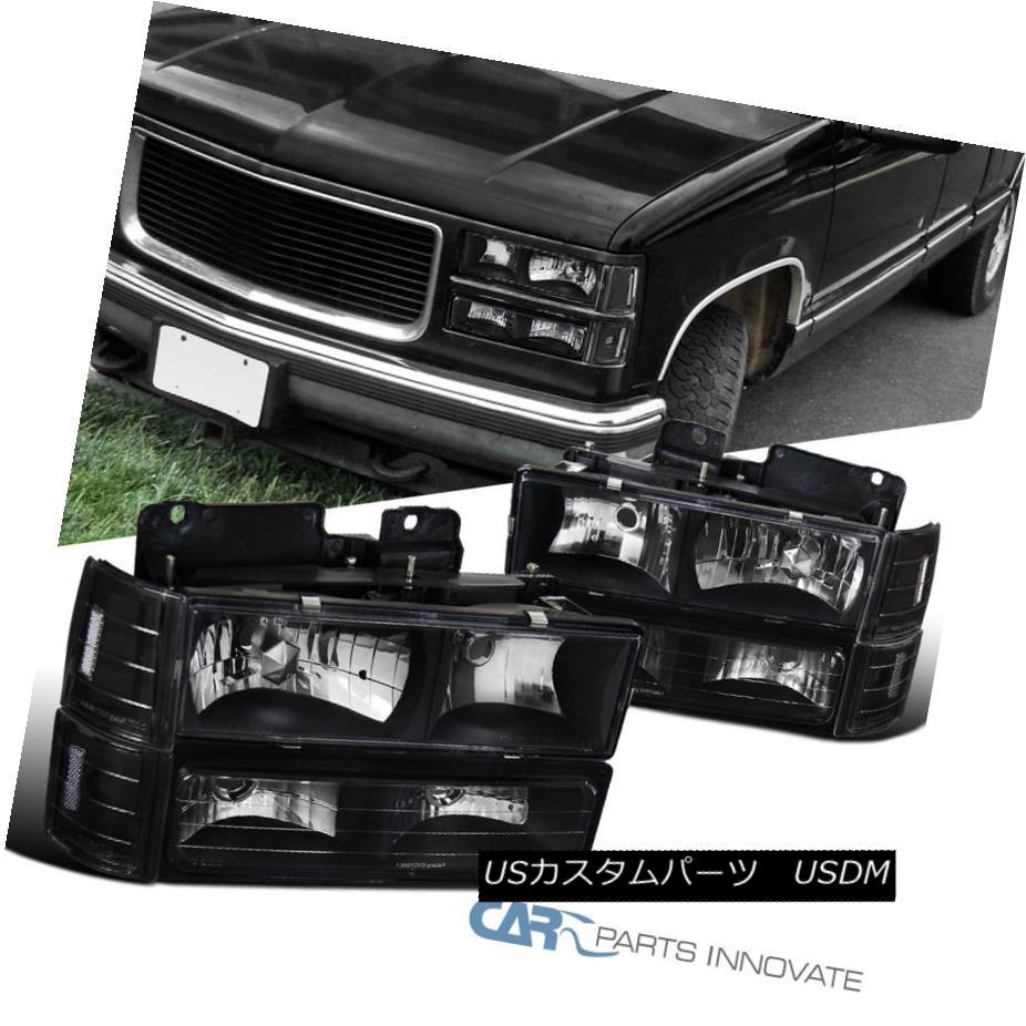 ヘッドライト 94-99 GMC C10 C/K Suburban Sierra Yukon Black Headlights w/ Bumper Corner Lamps 94-99 GMC C10 C / K郊外のSierra Yukonブラックヘッドライト(バンパーコーナーランプ付)