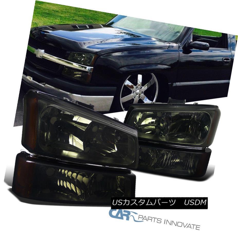 ヘッドライト 03-07 Chevy Silverado Avalanche Pickup Smoke Headlights+Parking Bumper Fog Lamps 03-07シボレーシルバラードアバランシェピックアップスモークヘッドライト+パー キングバンパーフォグランプ