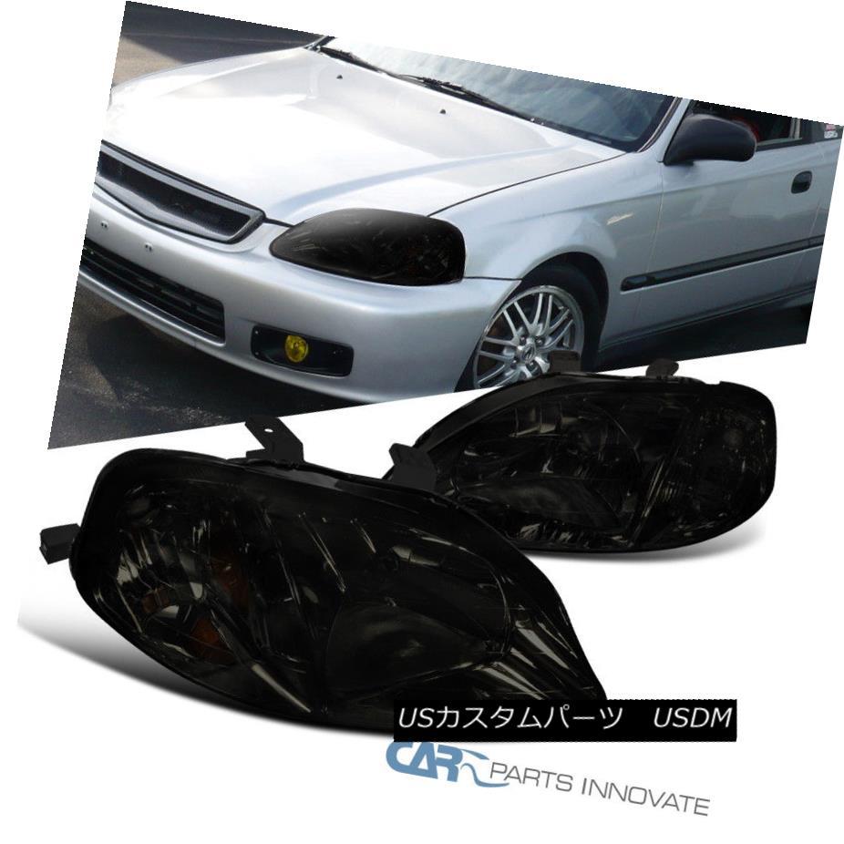 ヘッドライト Fit 99-00 Honda Civic 2/3/4Dr JDM Smoke Headlights Head Lamps Replacement Pair フィット99-00ホンダシビック2/3 / 4Dr JDMスモークヘッドライトヘッドランプ交換ペア