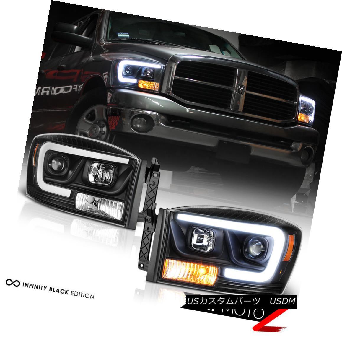 ヘッドライト 06-08 Dodge Ram 1500 Pickup Truck Black LED DRL Tube Projector Headlight Lamp 06-08ダッジラム1500ピックアップトラックブラックLED DRLチューブプロジェクターヘッドライトランプ