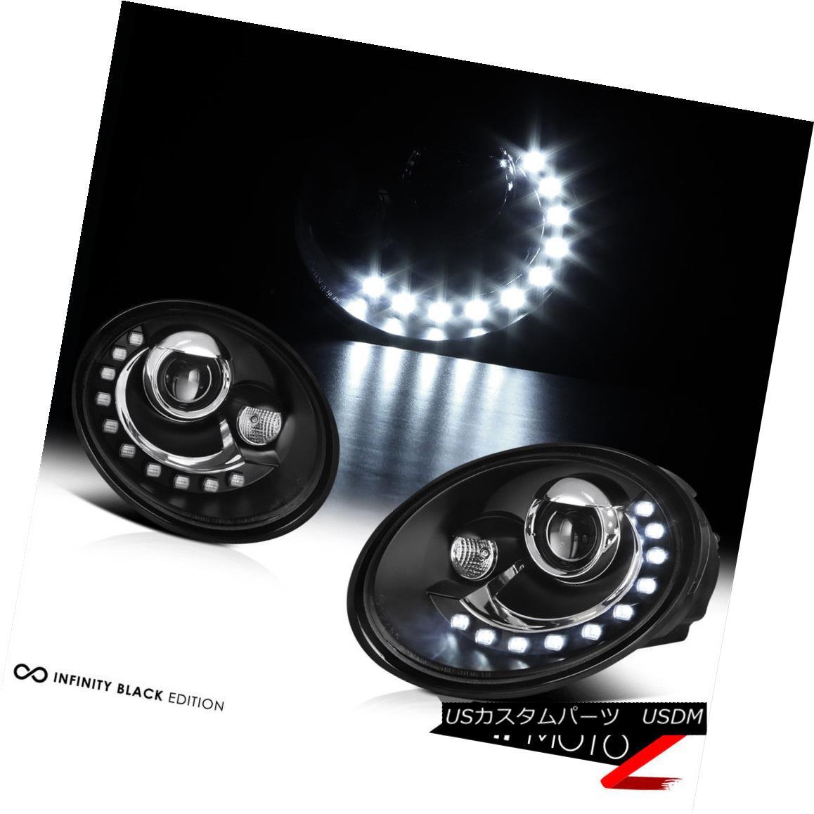 ヘッドライト 2006-2010 Volkswagen Beetle BASE TDI GLS GLX CABRIO 2.5 Black LED DRL Headlights 2006-2010フォルクスワーゲンビートルベースTDI GLS GLX CABRIO 2.5ブラックLED DRLヘッドライト