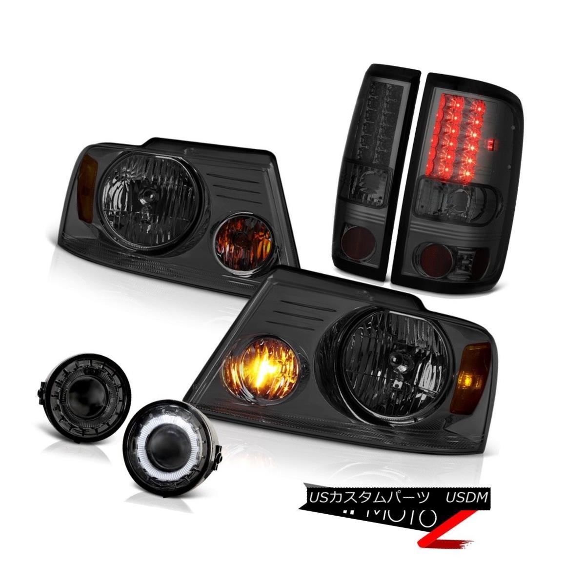 ヘッドライト 2006-2008 FORD F150 Smoke LED Tail Lights Headlights Halo Ring Fog Lamp Lights 2006-2008フォードF150スモークLEDテールライトヘッドライトハローリングフォグランプライト