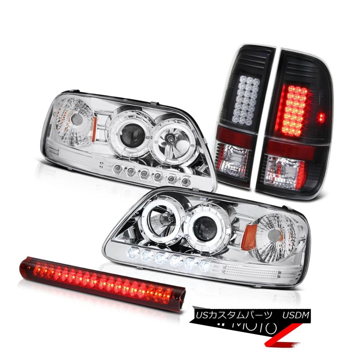 ヘッドライト DRL Halo Headlight Black LED Taillights 3rd Brake Lamp Red 1997 1998 F150 Lariat DRL HaloヘッドライトブラックLEDテールライト第3ブレーキランプRed 1997 1998 F150 Lariat