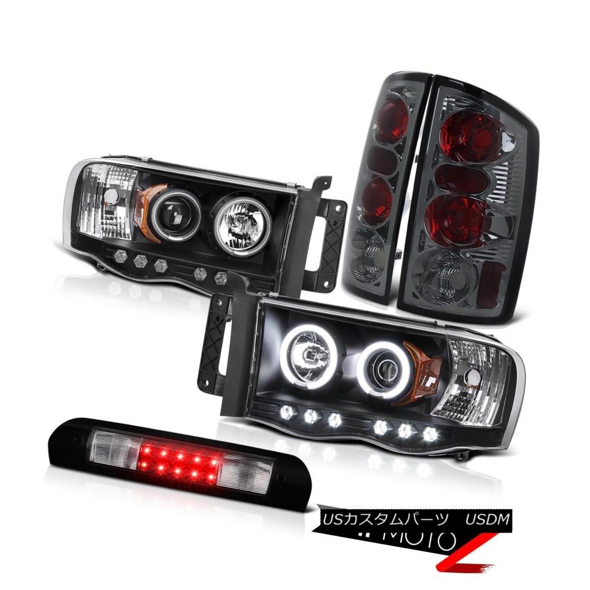 ヘッドライト Black CCFL Angel Eye Headlight Brake Light 3rd LED 2002 03 04 05 Ram TurboDiesel ブラックCCFLエンジェルアイヘッドライトブレーキライト3rd LED 2002 03 04 05ラムターボディーゼル