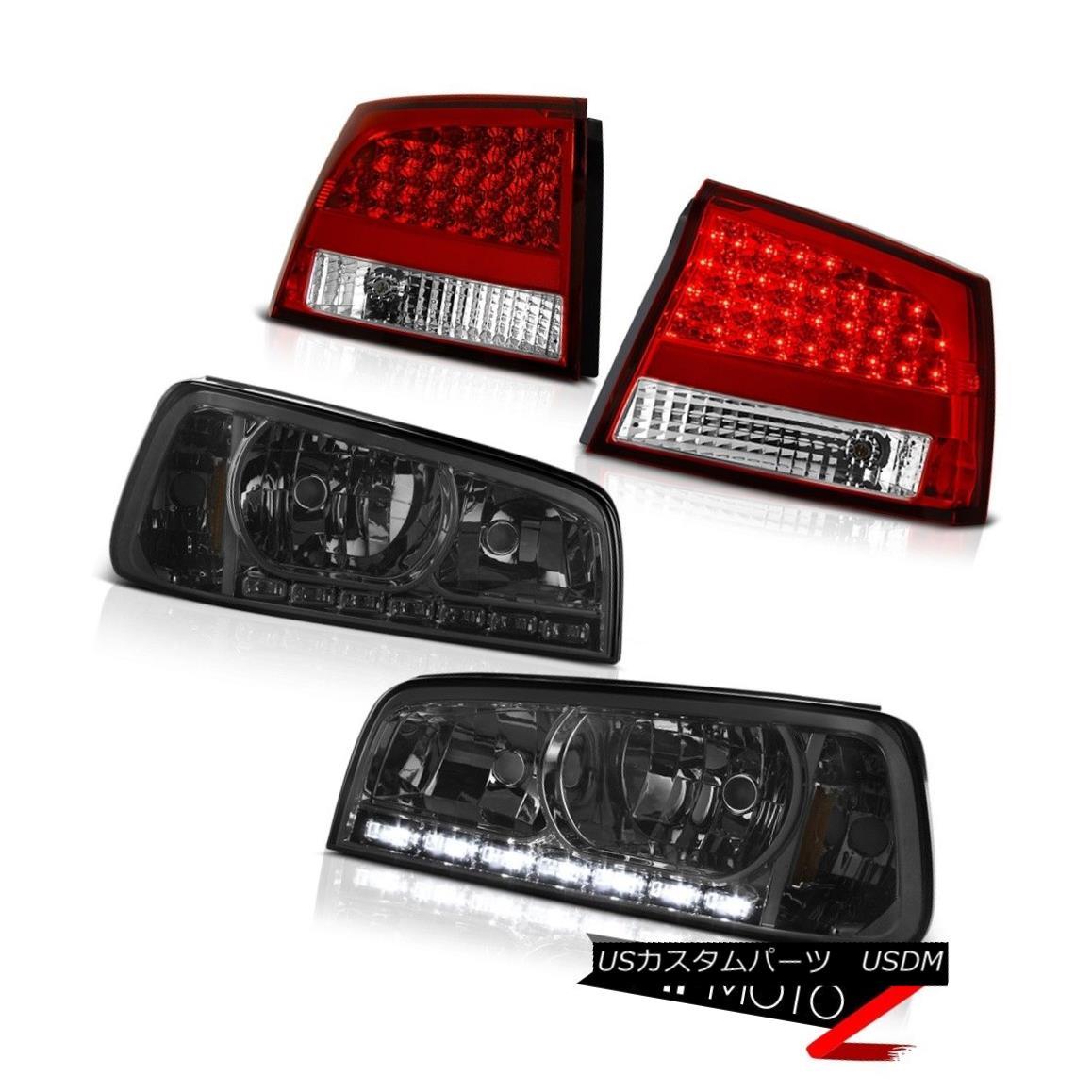 ヘッドライト 06-08 Charger 6.1L Crystal Smoke Headlights LED Brake Taillights Lamps Assembly 06-08充電器6.1LクリスタルスモークヘッドライトLEDブレーキティアライトランプアセンブリ