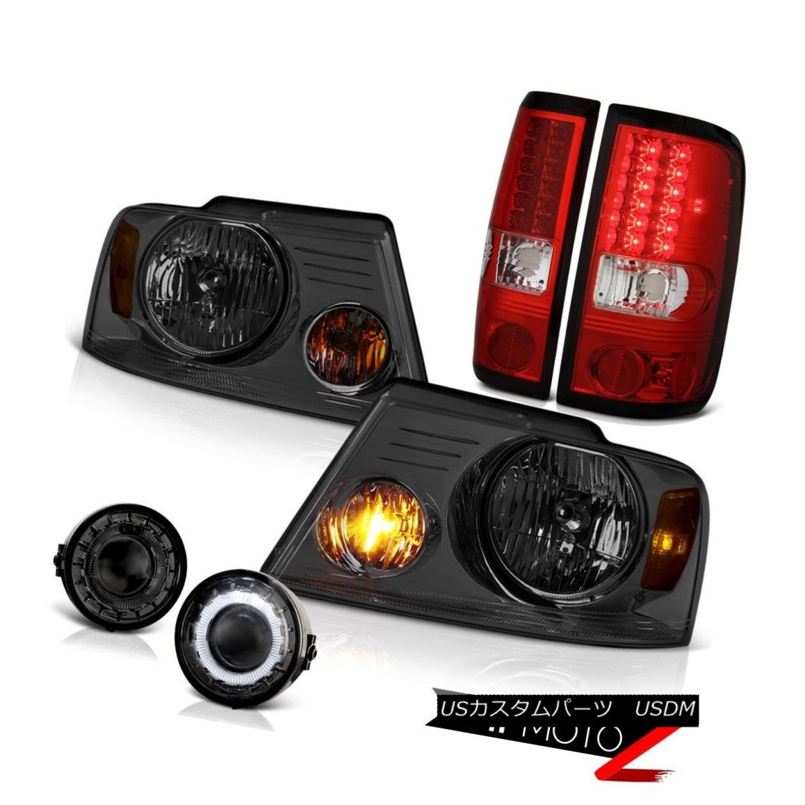 ヘッドライト 2006-2008 FORD F150 Smoke Headlight Halo Foglamp Red LED Tail Lights Brake Lamp 2006-2008フォードF150煙ヘッドライトHalo FoglampレッドLEDテールライトブレーキランプ