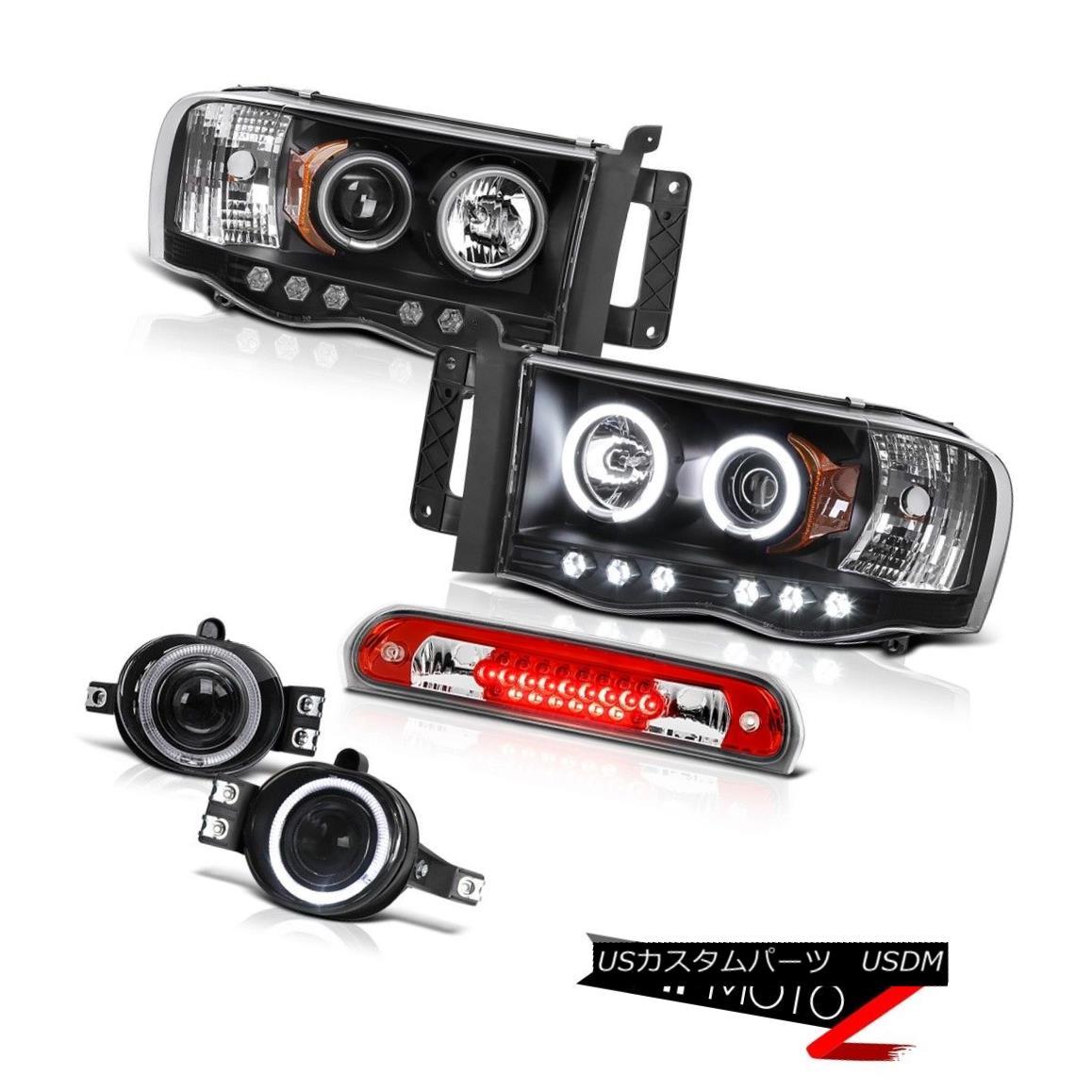 ヘッドライト 2X Black CCFL Projector Headlights Fog Roof Brake Cargo LED 02 03 04 05 Ram Hemi 2XブラックCCFLプロジェクターヘッドライトフォグ屋根ブレーキカーゴLED 02 03 04 05 Ram Hemi