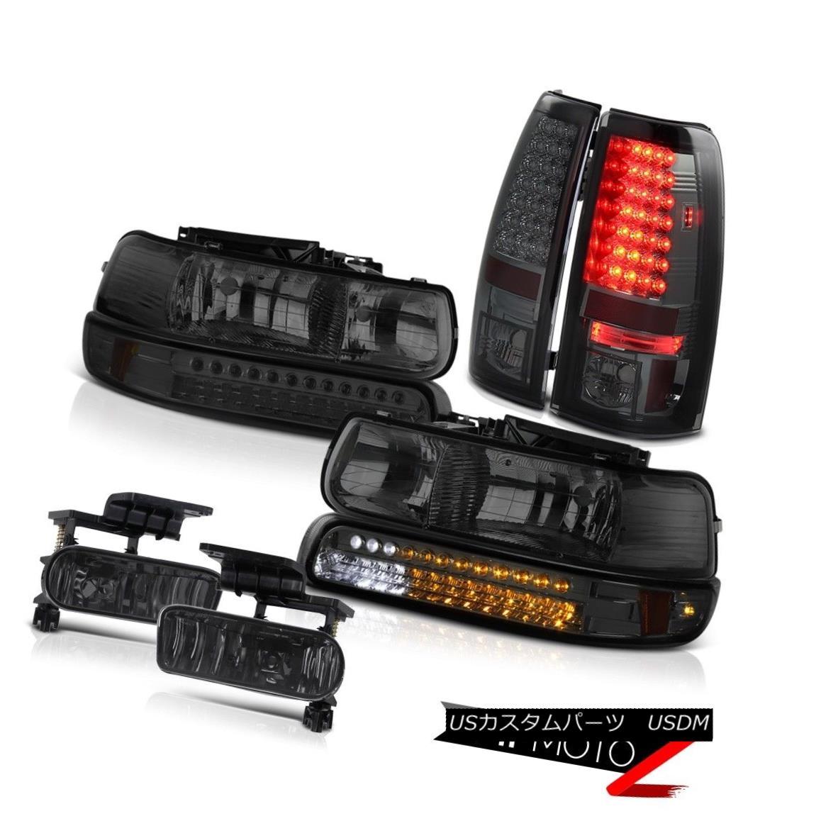ヘッドライト 99-02 GMT800 Silverado Smoke LED Bumper Headlamps Brake Tail Light Foglights 99-02 GMT800 SilveradoスモークLEDバンパーヘッドランプブレーキテールライトフォグライト