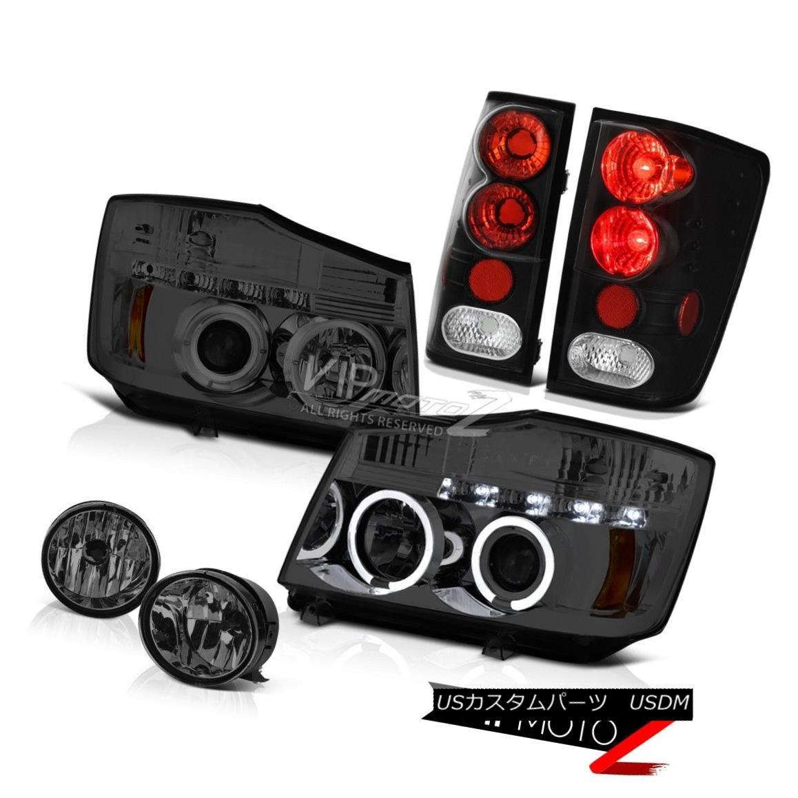 ヘッドライト For 2004-2015 Titan Projector Headlights Angel Eye Signal Tail Lights Black Fog 2004年?2015年Titanプロジェクターヘッドライトエンジェルアイシグナルテールライトブラックフォッグ