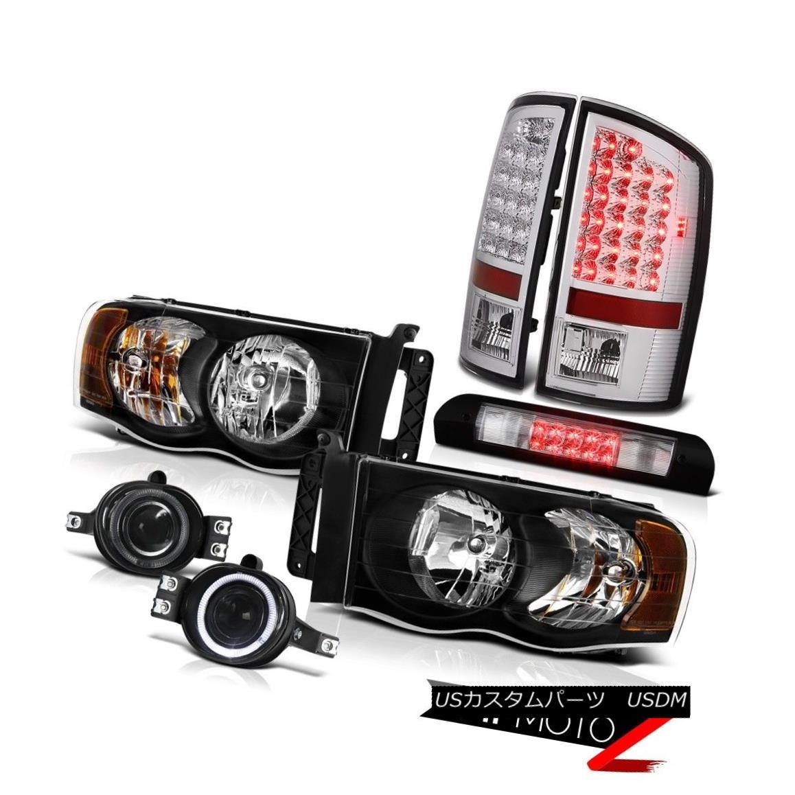 ヘッドライト Black Headlights Clear LED Tail Lights Bumper Fog High Stop 02-05 Ram PowerTech ブラックヘッドライトクリアLEDテールライトバンパーフォグハイストップ02-05 Ram PowerTech