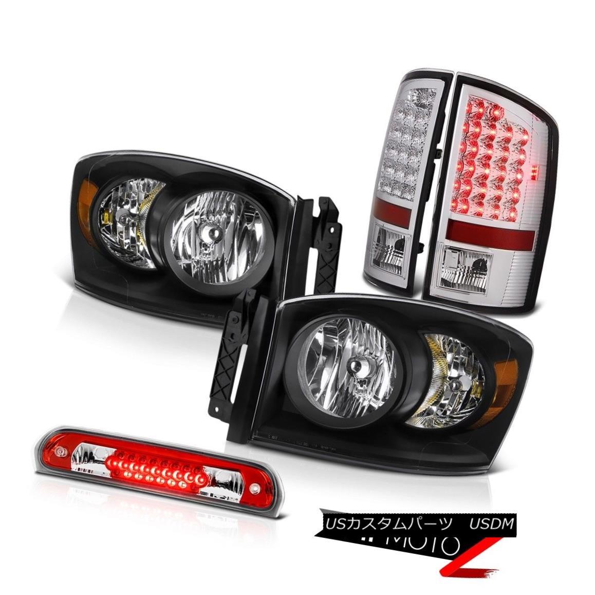 ヘッドライト Black Headlights Assembly LED Brake Taillights High Stop Red 2007 2008 Ram V8 ブラックヘッドライトアセンブリLEDブレーキ灯台ハイストップレッド2007 2008 Ram V8