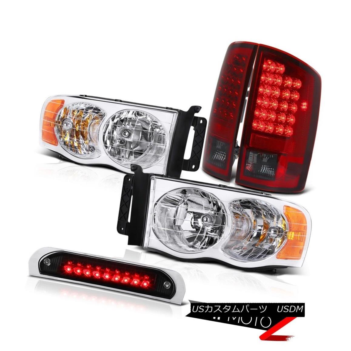 ヘッドライト Pair Chrome Headlights LED Bulbs Tail Lamps High Stop Black 2002-2005 Ram SLT ペアクロームヘッドライトLED電球テールランプハイストップブラック2002-2005 Ram SLT