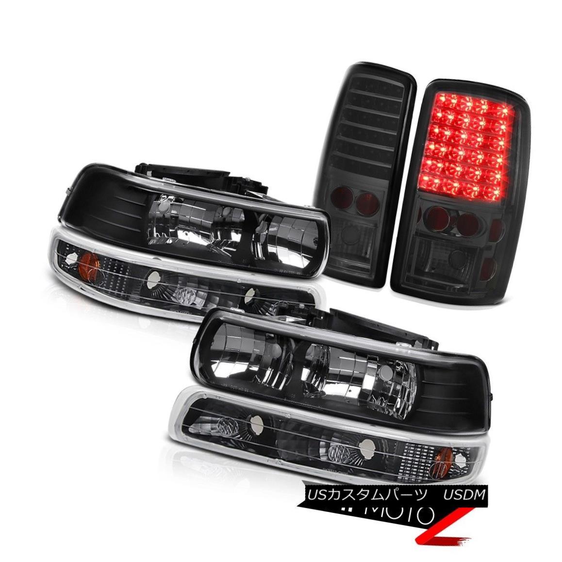ヘッドライト 01-06 Chevy Tahoe Z71 Pair Black Headlights Bumper Signal Smoke LED Tail Lights 01-06 Chevy Tahoe Z71ペアブラックヘッドライトバンパーシグナルスモークLEDテールライト