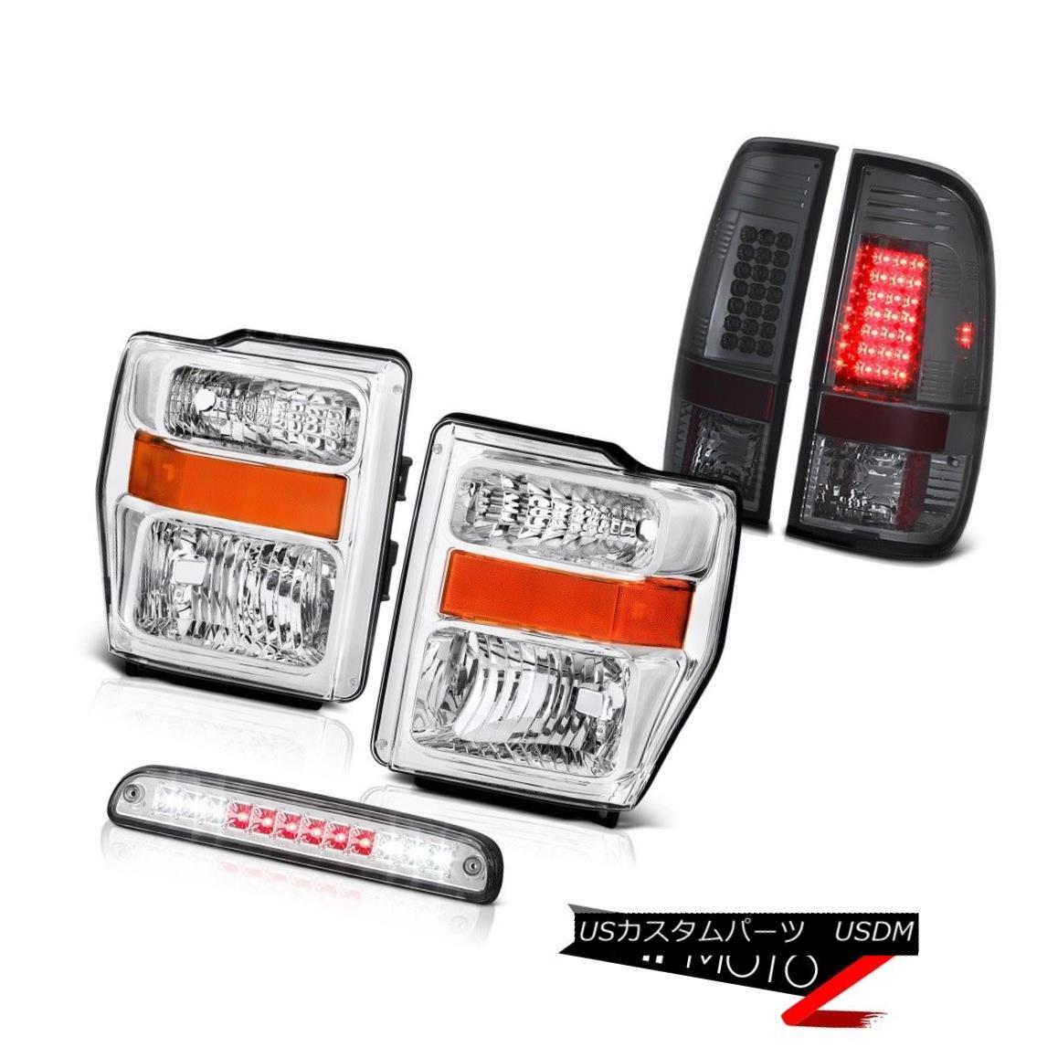 ヘッドライト Pair Chrome Headlight High Brake Cargo LED Smoke Lamp 08-10 F350 Harley Davidson ペアクロームヘッドライト高ブレーキ貨物LED煙ランプ08-10 F350ハーレーダビッドソン