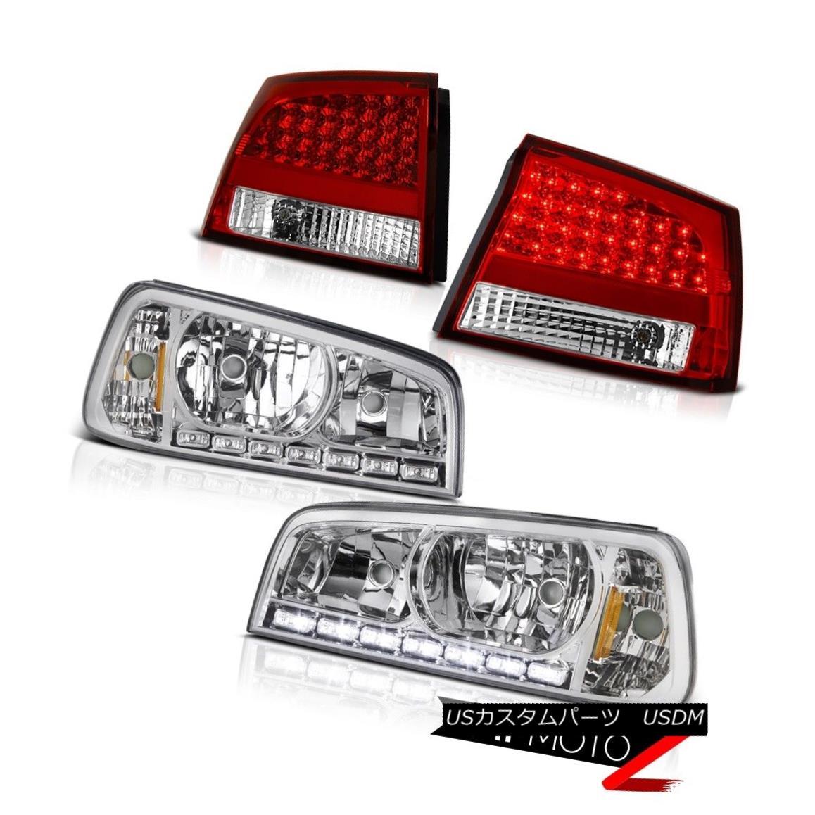 ヘッドライト 2009 2010 Dodge Charger Chrome LED Daytime Headlight Brake Lamp Rosso Taillights 2009年のダッジチャージャークロームLED昼間のヘッドライトブレーキランプロッソ灯台