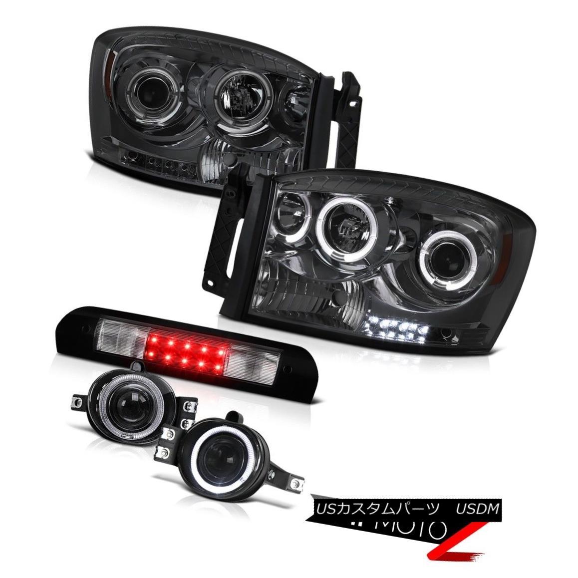 ヘッドライト Dark Halo Projector Headlamp Chrome Fog Roof Stop LED Black 07 08 Dodge Ram 1500 ダークハロープロジェクターヘッドランプクロームフォグルーフストップLEDブラック07 08ドッジラム1500