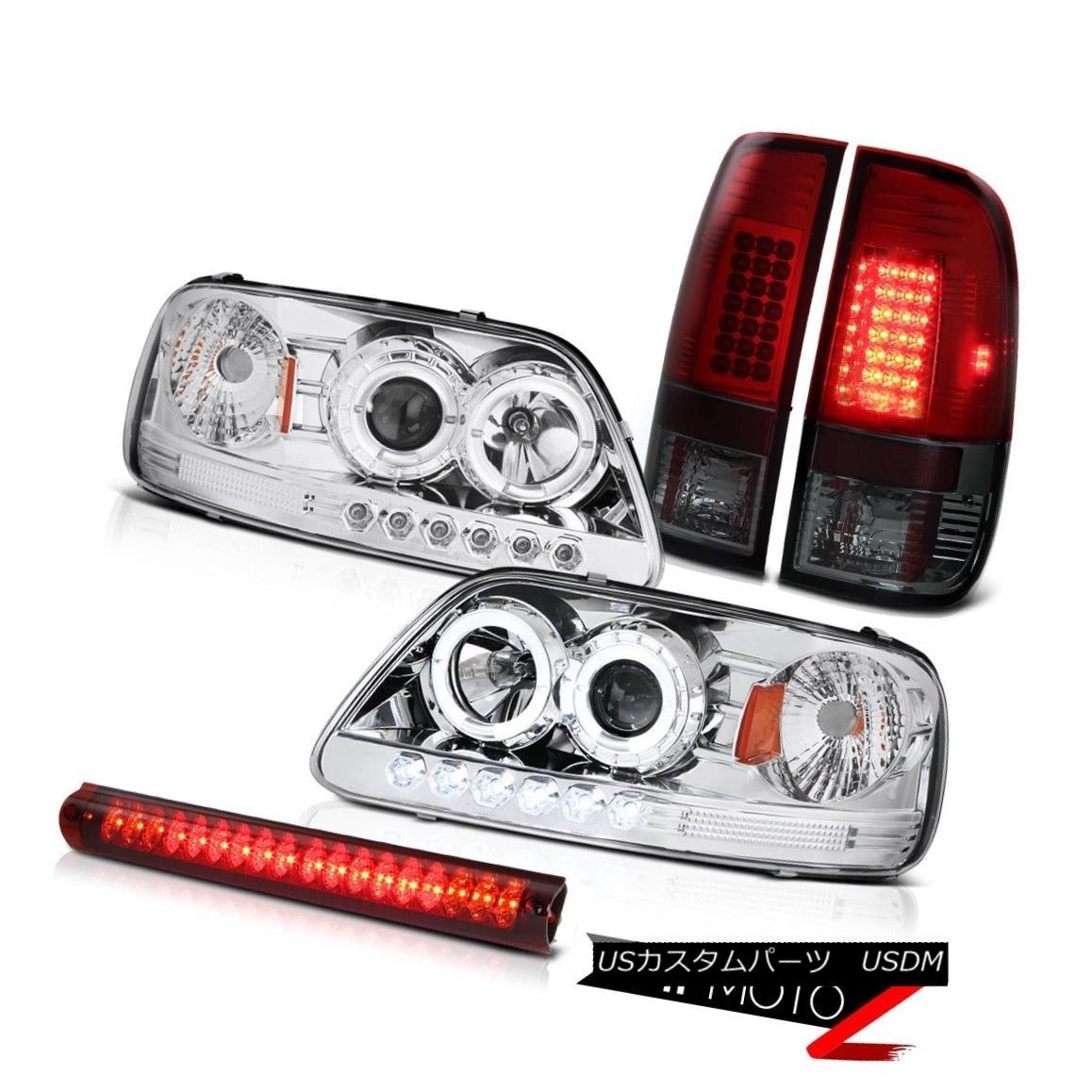ヘッドライト Chrome LED Angel Eye Headlights 97-03 F150 XL Burgundy Taillight Red Brake Light クロームLEDエンジェルアイヘッドライト97-03 F150 XLブルゴーニュテールライトレッドブレーキライト