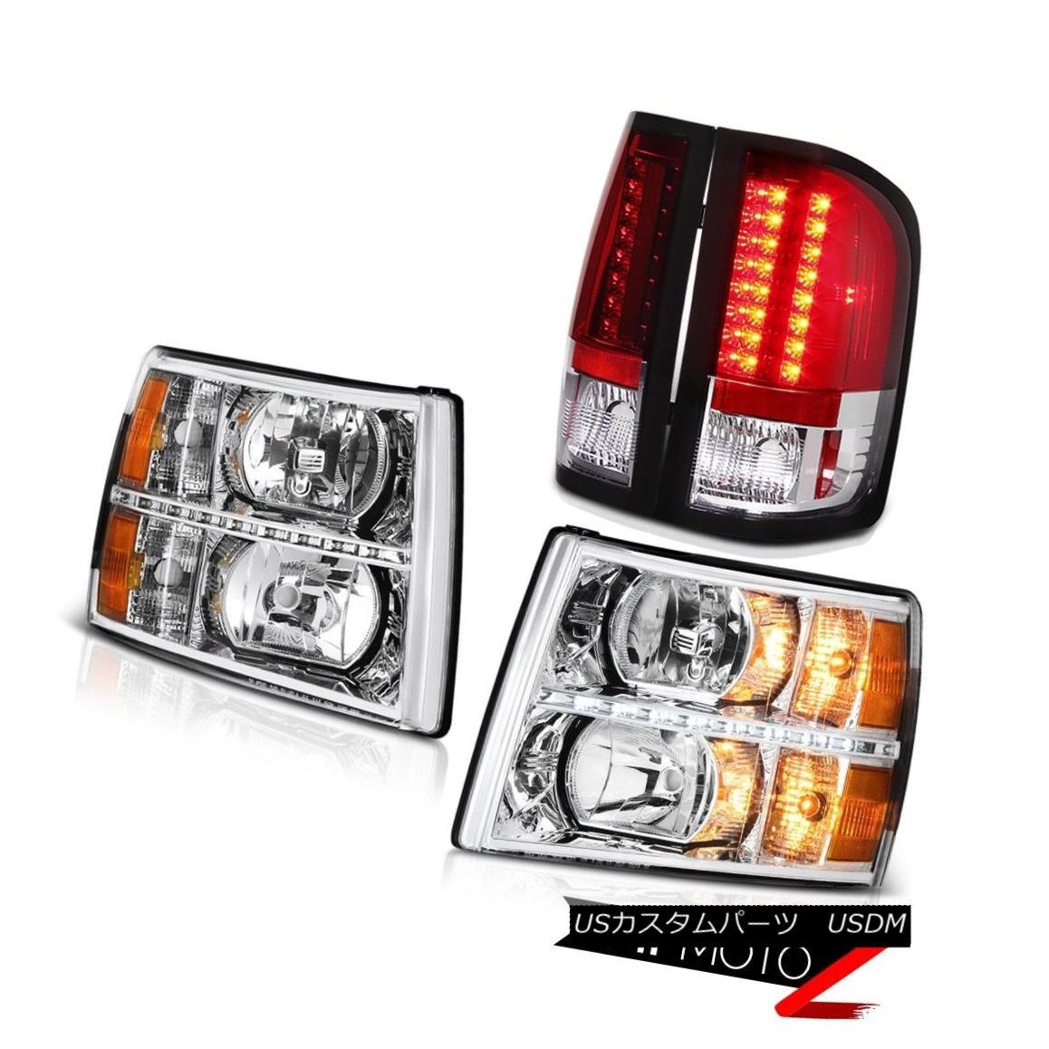 ヘッドライト 07-13 Silverado LT Headlamps led drl red clear tail brake lamps LED SMD Assembly 07-13 Silverado LTヘッドライトled drl赤いクリアテールブレーキランプLED SMDアセンブリ