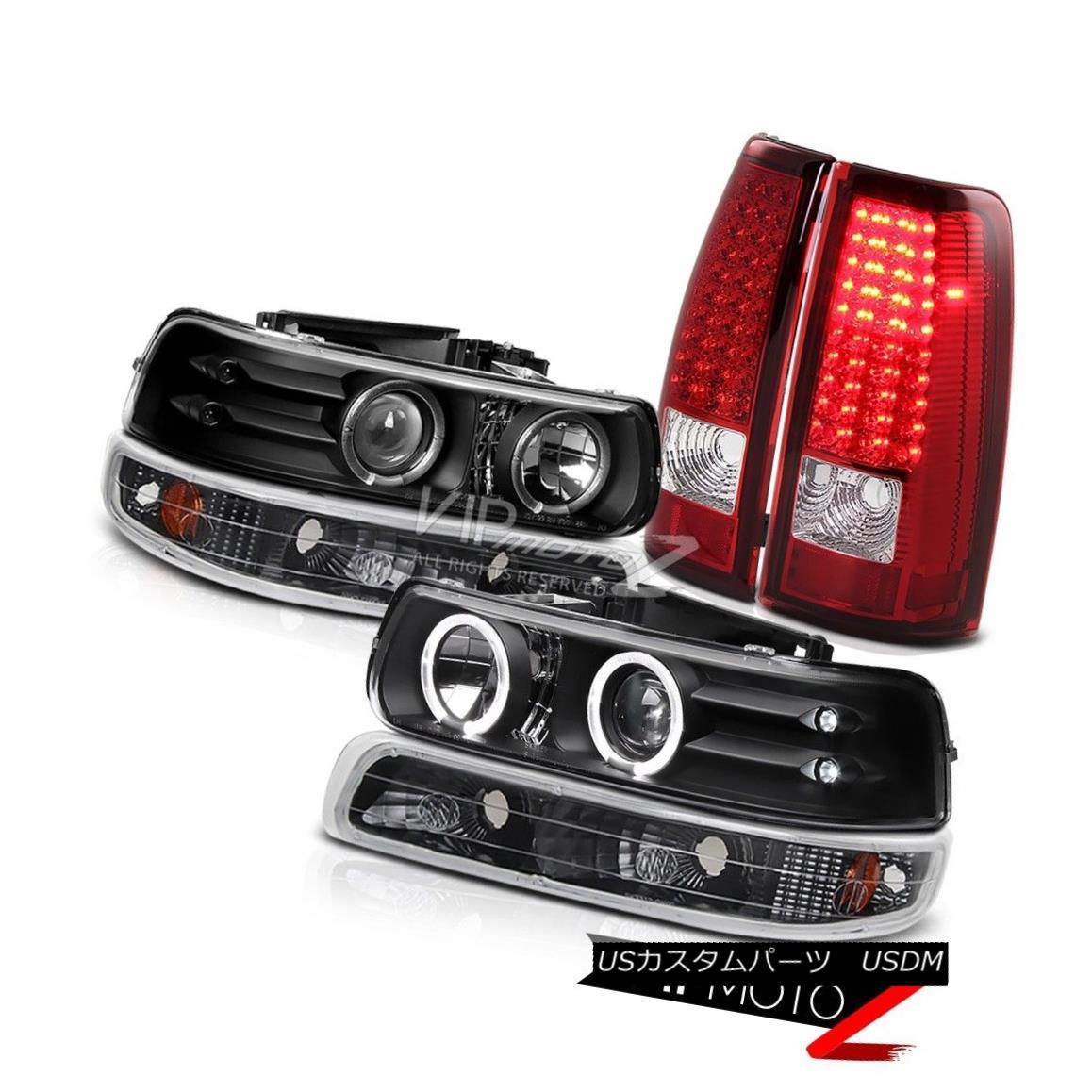 ヘッドライト Black Halo Projector Headlight+Bumper Parking Lamp+RED/CLEAR LED Tail Light L+R ブラックハロープロジェクターヘッドライト+バンプ erパーキングランプ+ RED / CLEAR LEDテールライトL + R