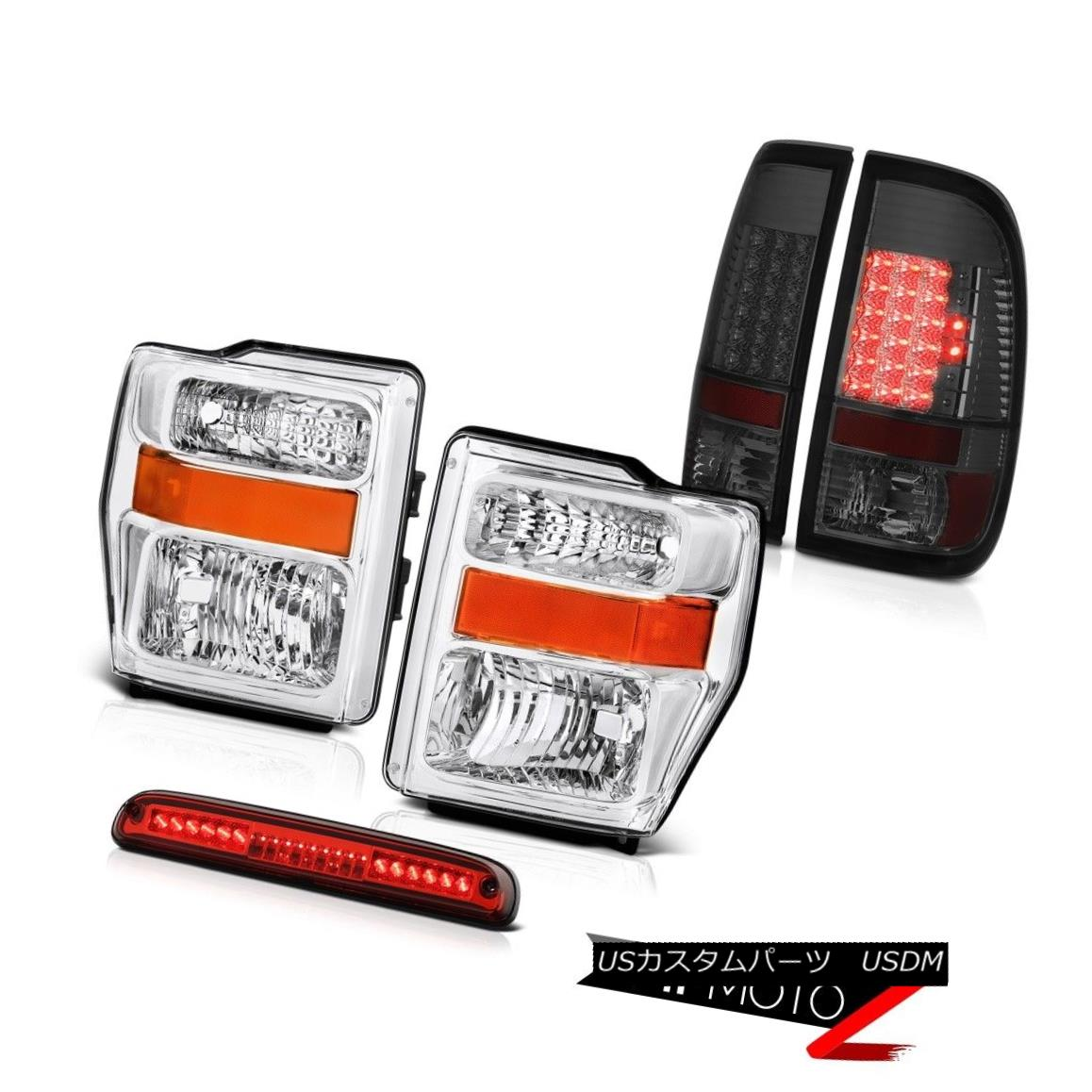 ヘッドライト 2008 2009 2010 Ford SuperDuty L+R Headlamps Smoke Tail Lights LED Red 3rd Brake 2008年2009年2010年フォードSuperDuty L + Rヘッドランプ煙テールライトLEDレッド第3ブレーキ