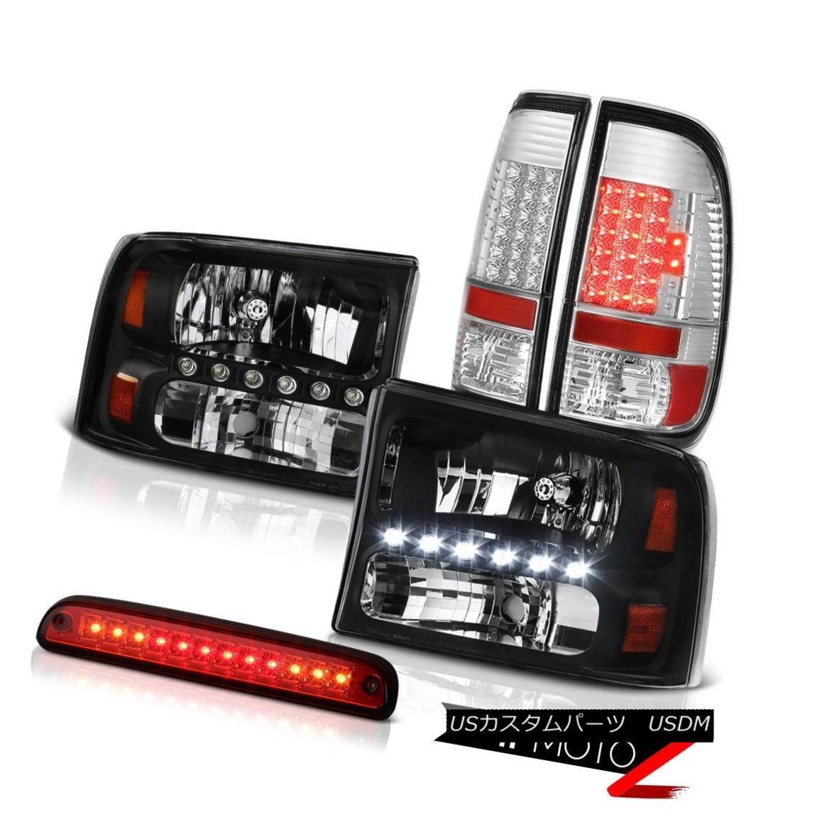 ヘッドライト 1999-2004 F350 7.3L Black Headlights BRIGHTEST LED Tail Lights Wine Red Third 1999-2004 F350 7.3Lブラックヘッドライトブライトテールテールライトワインレッド3