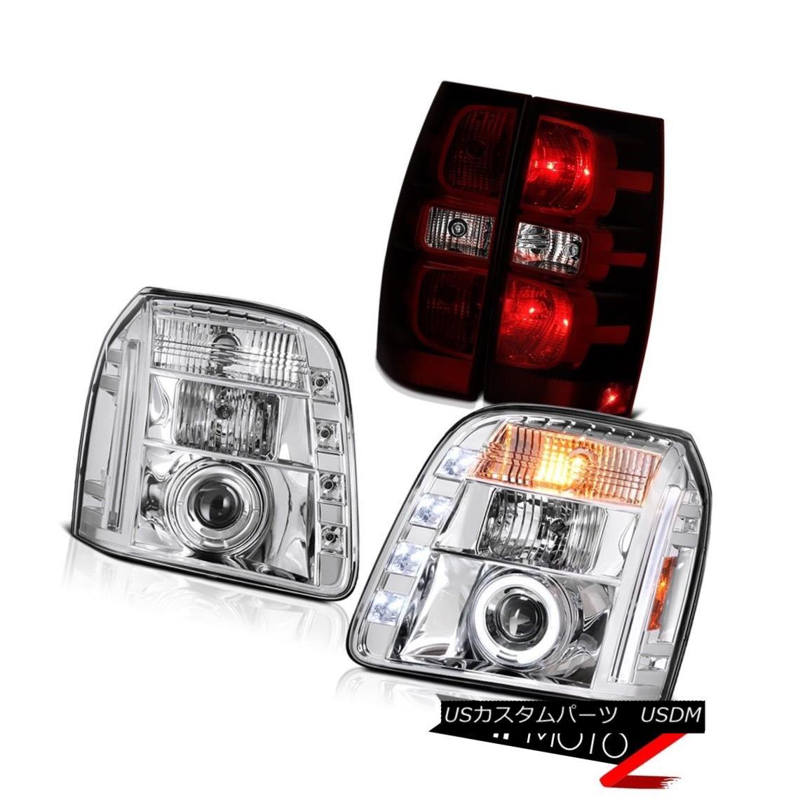ヘッドライト 07-14 GMC Yukon SLT Taillamps Crystal Clear Headlamps LED Angel Eyes Halo Rim 07-14 GMC Yukon SLT TaillampsクリスタルクリアヘッドランプLEDエンジェルアイズハローリム