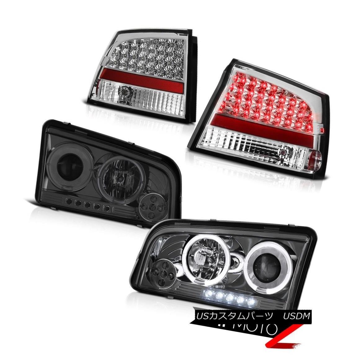 ヘッドライト 2006 2007 2008 Charger 3.5L Dark Smoke Halo LED Headlamps Brake Taillights Lamps 2006 2007 2008充電器3.5LダークスモークハローLEDヘッドランプブレーキ灯ライト
