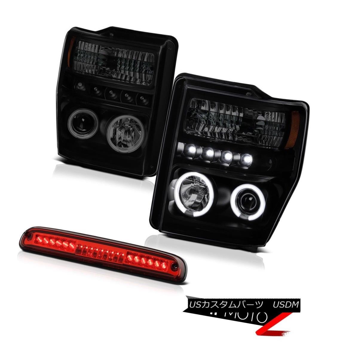 ヘッドライト 2008 2009 2010 F250 Lariat [BRIGHTEST] CCFL Rim Headlights 3rd Brake Red LED 2008年2009年2010年F250 Lariat [BRIGHTEST] CCFLリムヘッドライト第3ブレーキ赤色LED