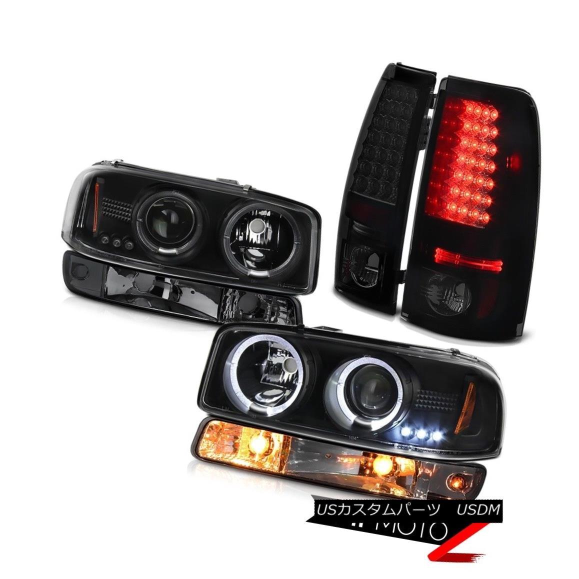 ヘッドライト 1999-2002 Sierra SLT LED tail lights smokey parking light matte black headlights 1999-2002シエラSLT LEDテールライトスモーパーキングライトマットブラックヘッドライト