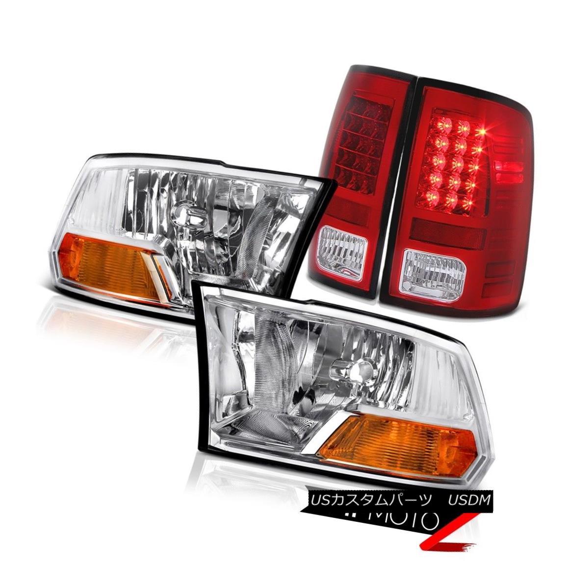 ヘッドライト 2009-2018 Dodge Ram Red LED Mopar Style Tail Lights Chrome Headlights 2010 2011 2009-2018ダッジラムレッドLED Moparスタイルテールライトクロームヘッドライト2010 2011