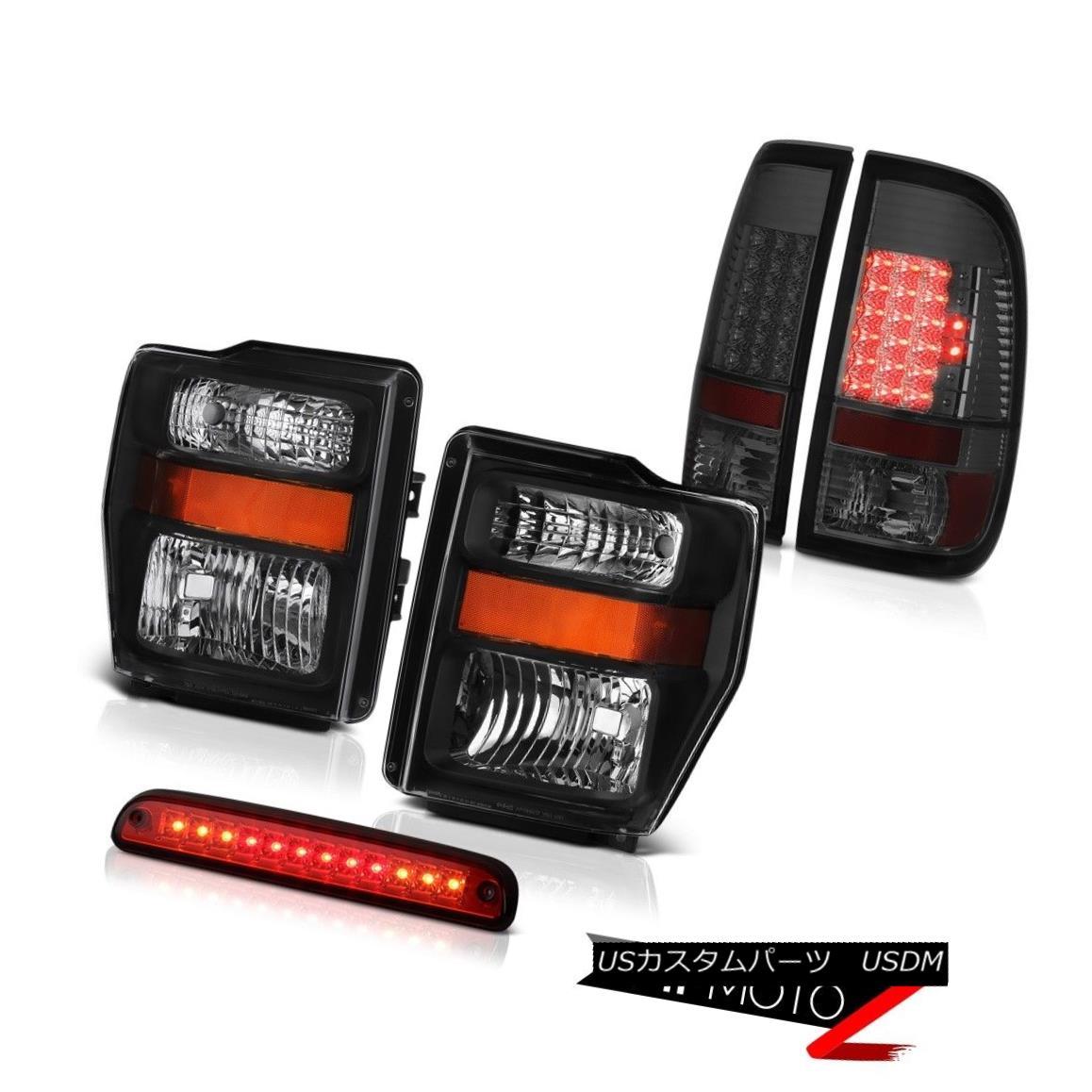 ヘッドライト 2008 2009 2010 Ford SuperDuty Black Headlights Smoke LED Taillights Brake Cargo 2008年2009年2010年フォードスーパーデューティブラックヘッドライトスモークLEDティアライトブレーキカーゴ