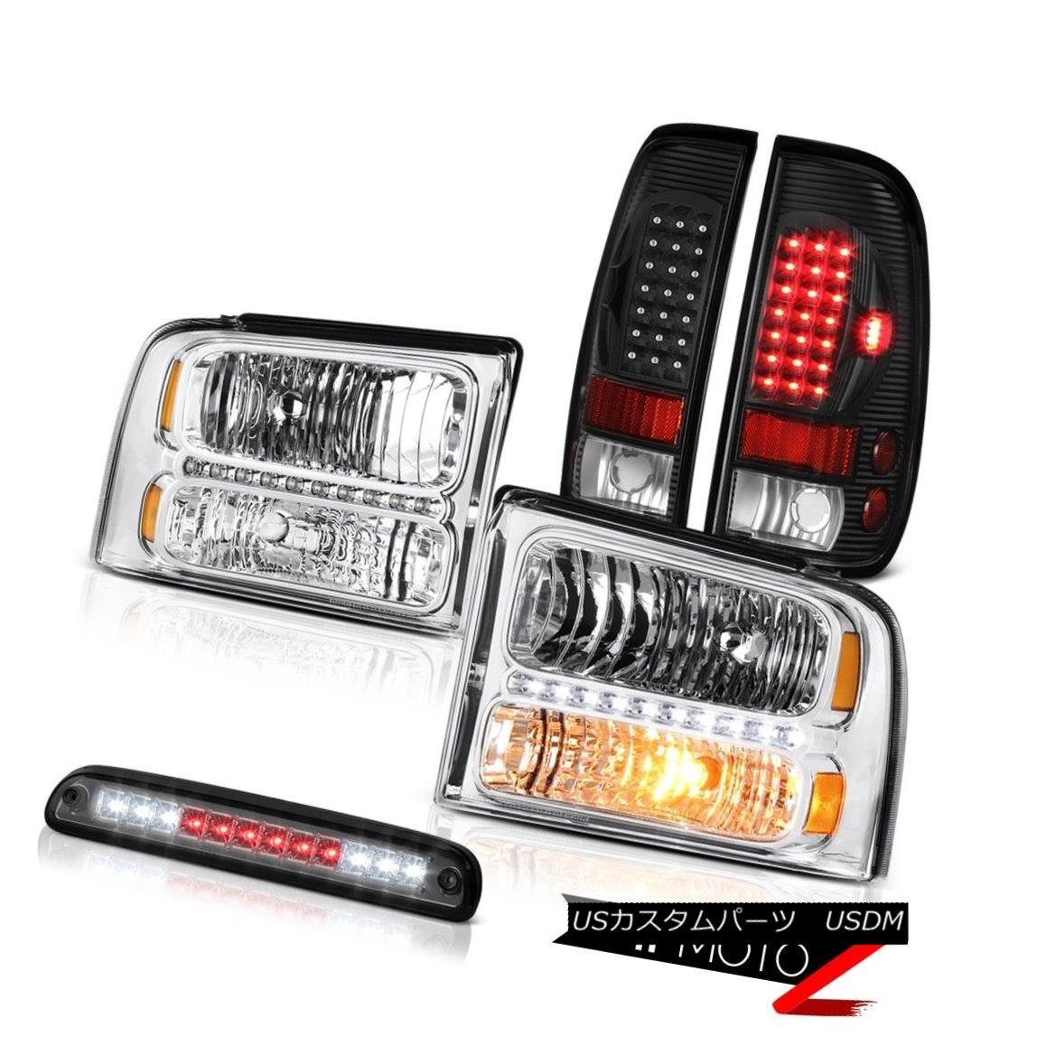 ヘッドライト 05 06 07 F350 7.3L Pair Chrome Headlights LED Bulbs Tail Lamps High Stop Smoke 05 06 07 F350 7.3LペアクロームヘッドライトLED電球テールランプハイストップスモーク