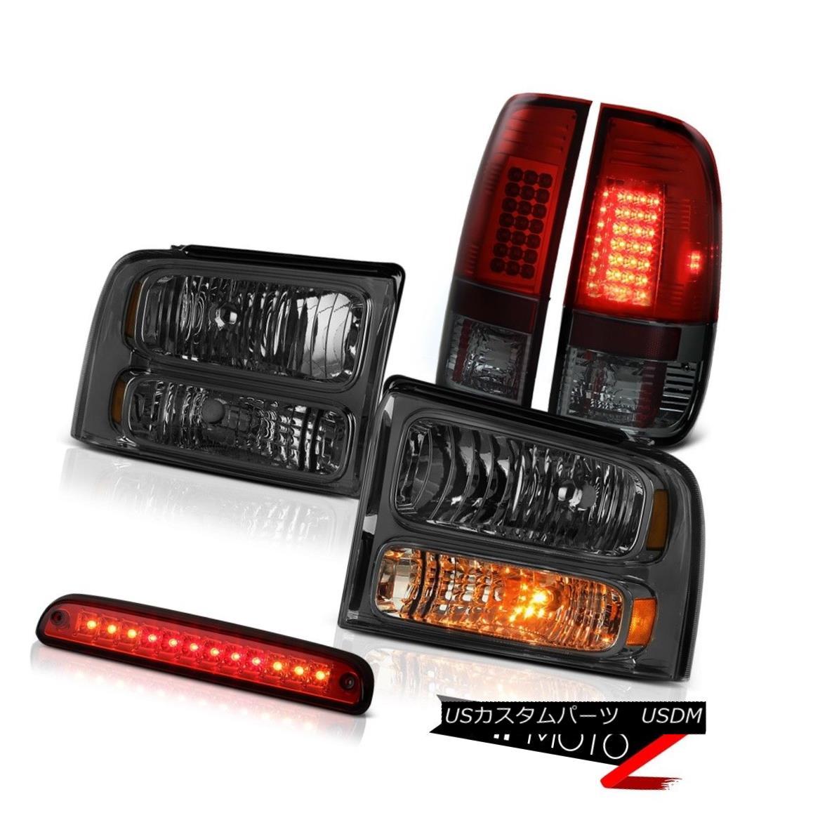 ヘッドライト 05-07 Ford F550 Smoke Headlights LEFT RIGHT LED Bulbs Brake Tail Lights Red 3rd 05-07 Ford F550スモークヘッドライトLEFT RIGHT LED電球ブレーキテールライトレッド3rd