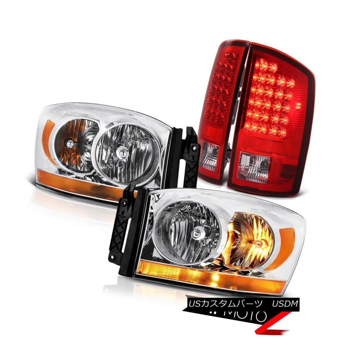 ヘッドライト 2006 Dodge Ram 1500 3.7L Sterling Chrome Headlights Wine Red Rear Brake Lights 2006 Dodge Ram 1500 3.7Lスターリングクロームヘッドライトワインレッドリアブレーキライト
