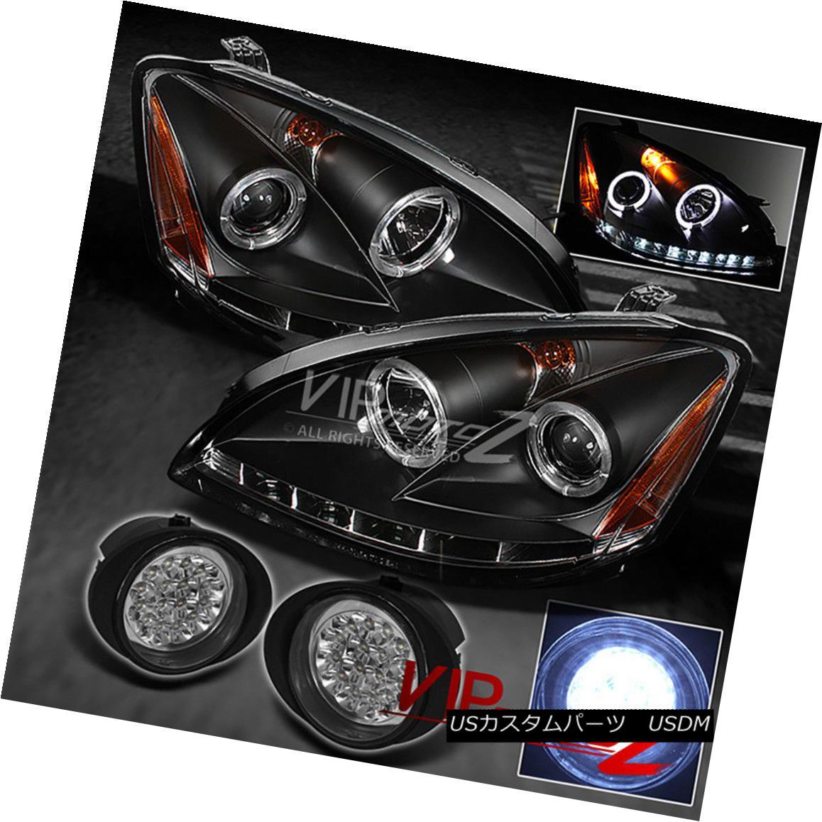 ヘッドライト For 02-04 Altima L+R BLACK Halo Projector Headlights+Crystal Clear Fog Light 02-04 Altima L + R BLACKハロープロジェクターヘッドライト+ Cry  stal Clear Fog Light