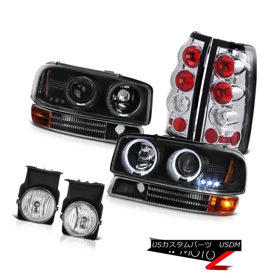 ヘッドライト Halo LED Projector Headlight Signal Parking Tail Light Bumper Fog 03 Sierra 5.3L Halo LEDプロジェクターヘッドライト信号パーキングテールライトバンパーフォグ03 Sierra 5.3L