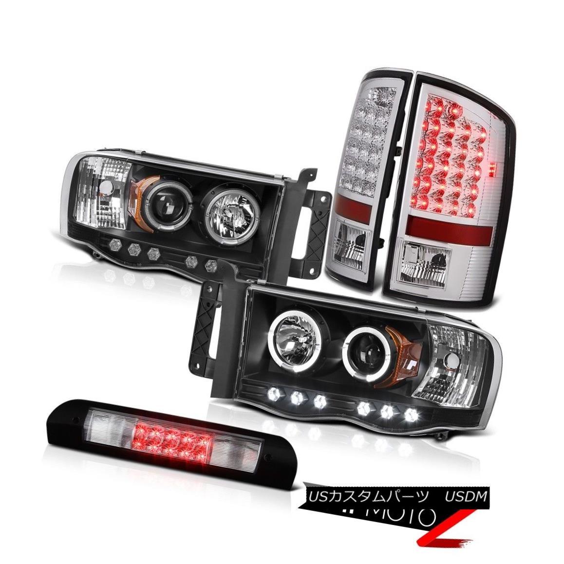 ヘッドライト Black Headlights Projector Euro LED Tail Lights High Brake 02-05 Ram TurboDiesel ブラックヘッドライトプロジェクターユーロLEDテールライトハイブレーキ02-05 Ram TurboDiesel