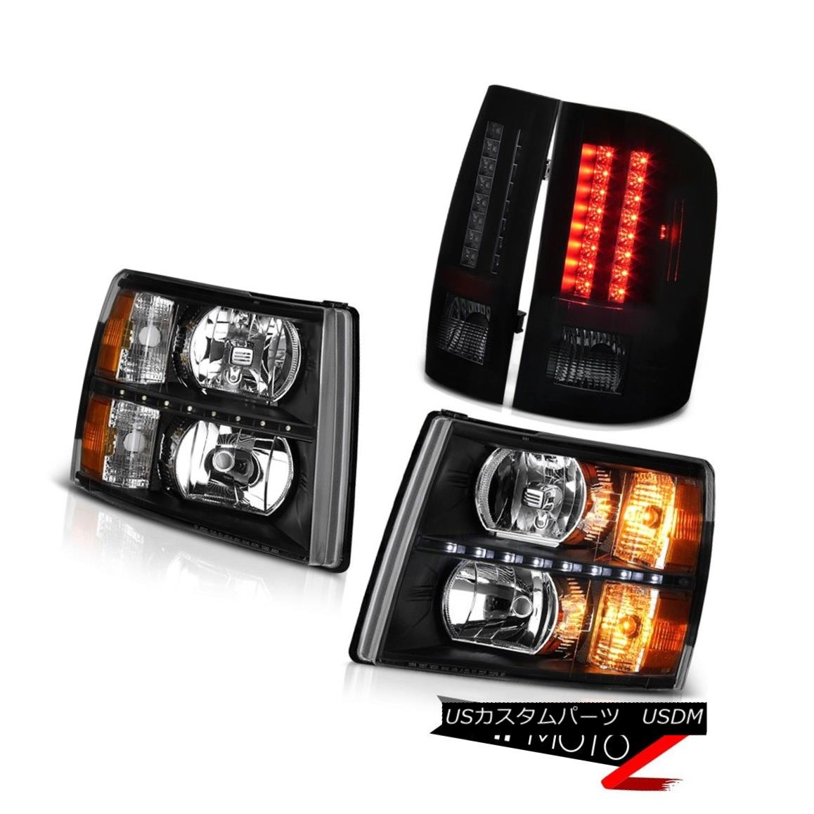 ヘッドライト 07-13 Silverado LT Raven Black Headlights LED DRL Tail Brake Lamps Oe Style SMD 07-13 Silverado LT RavenブラックヘッドライトLED DRLテールブレーキランプOe Style SMD