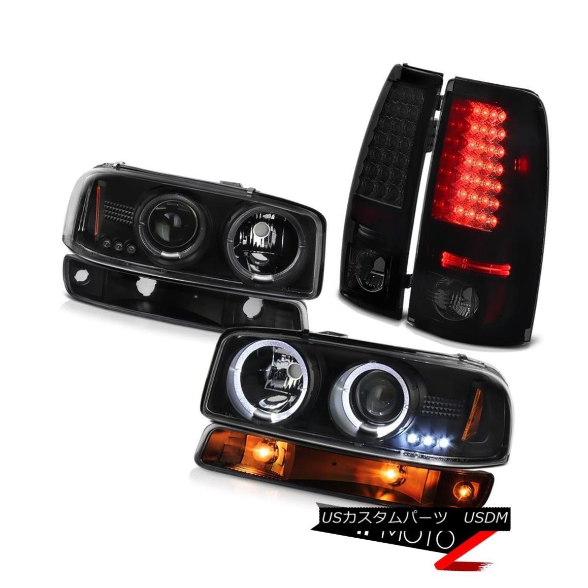ヘッドライト 99 00 01 02 Sierra 2500 Darkest smoke smd taillights black bumper lamp headlamps 99 00 01 02シエラ2500暗い煙smdテールライトブラックバンパーランプヘッドランプ