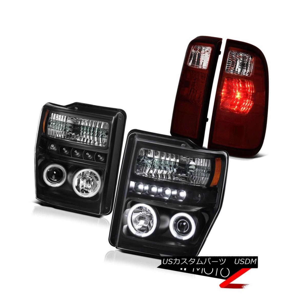 ヘッドライト 2008-2010 Ford F350 Angel Eye DRL Projector Headlights Red LED Brake Tail Lights 2008-2010フォードF350エンジェルアイDRLプロジェクターヘッドライト赤LEDブレーキテールライト