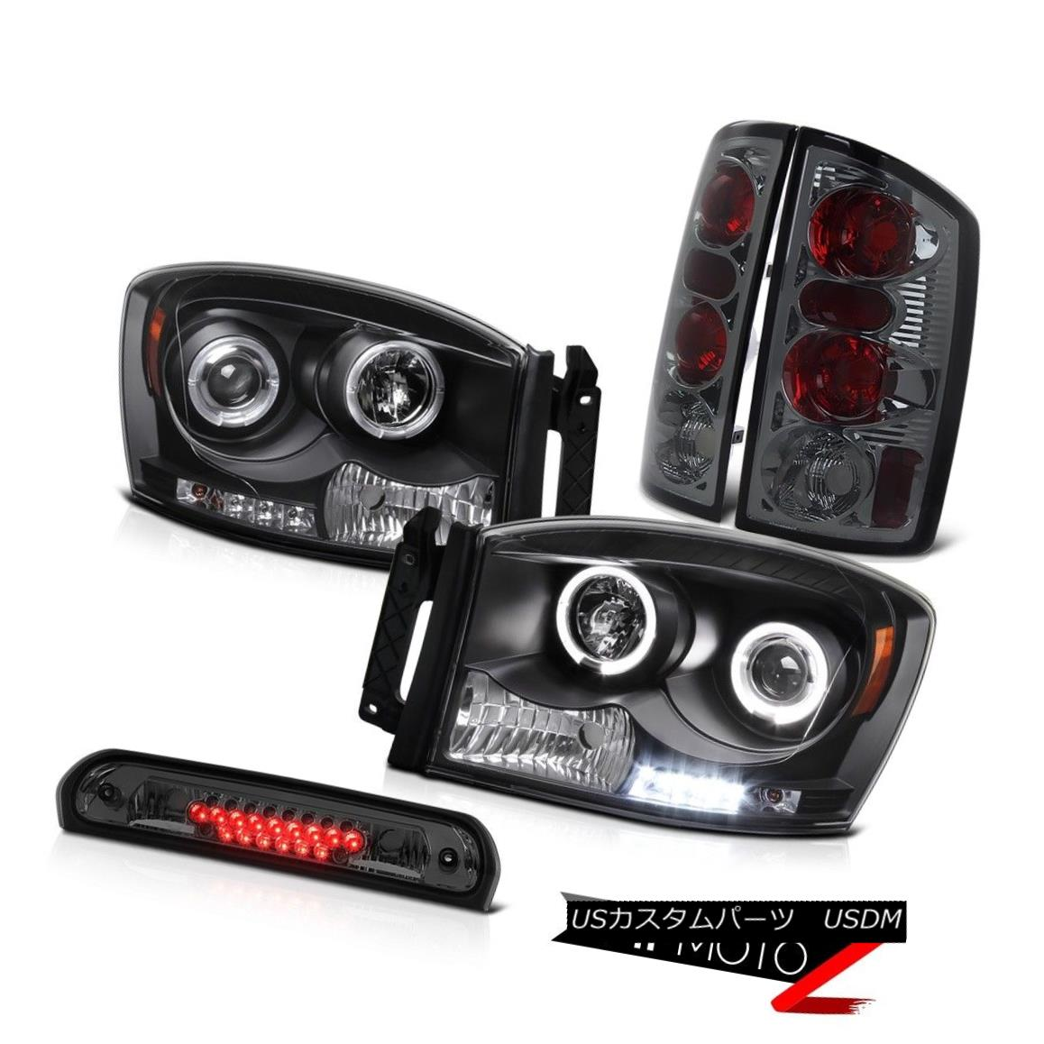 ヘッドライト 2006 Dodge Ram V6 Twin Halo LED Headlamps L+R Rear Lights Smoke Tinted 3rd Brake 2006 Dodge Ram V6ツインHalo LEDヘッドランプL + RリアライトSmoke Tinted 3rdブレーキ