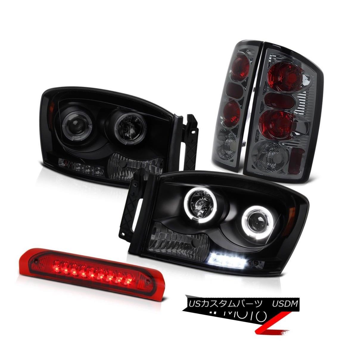 ヘッドライト 2006 Ram 1500 2500 3500 Sinister Black Headlights Halo LED 3RD Brake Tail Lights 2006 Ram 1500 2500 3500 Sinister BlackヘッドライトHalo LED 3RDブレーキテールライト