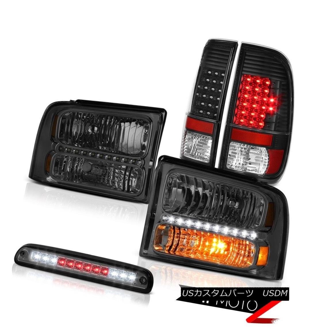 ヘッドライト 2005-2007 F350 Outlaw Dark Smoke Headlights Matte Black Tail Light High Stop LED 2005-2007 F350アウトローダークスモークヘッドライトマットブラックテールライトハイストップLED