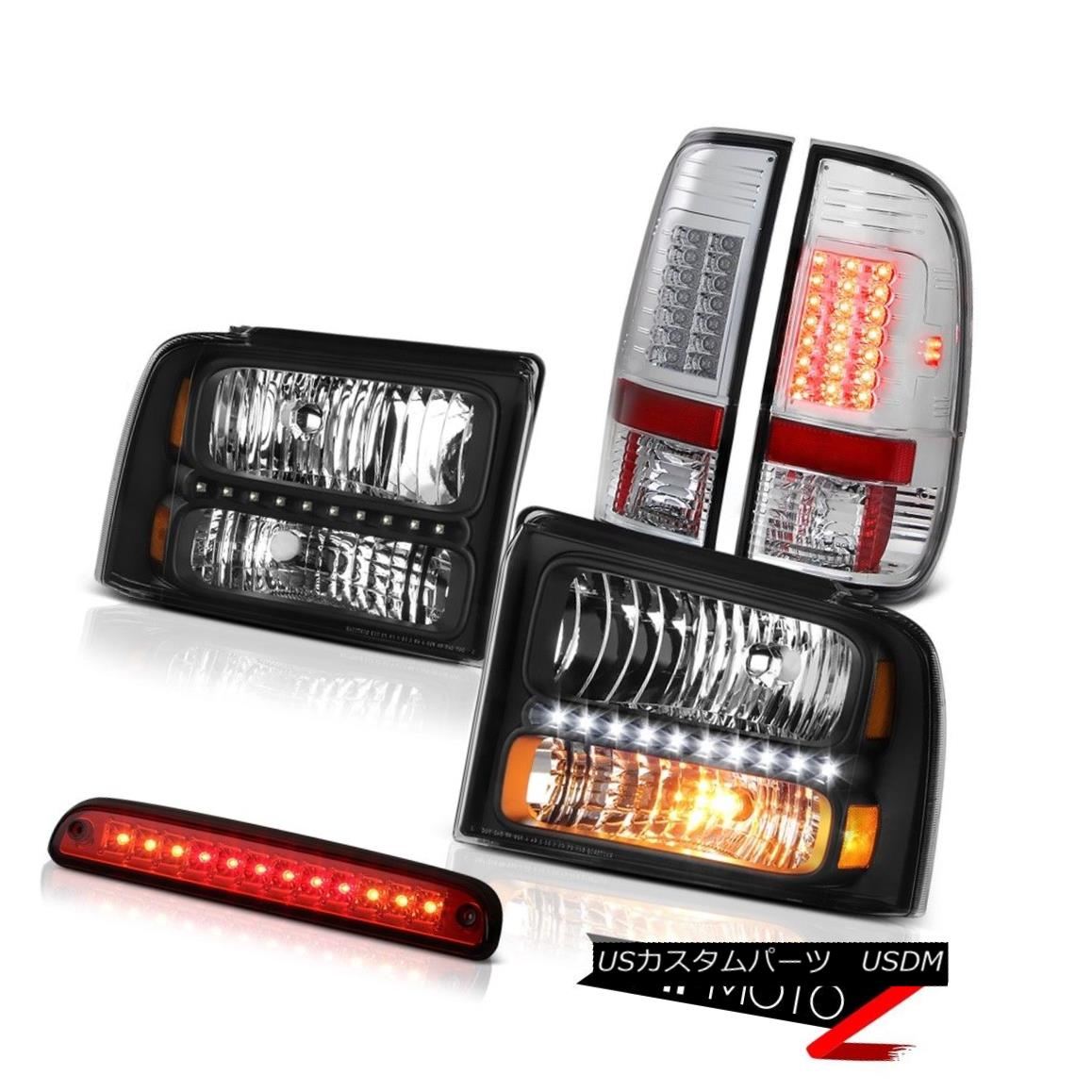 ヘッドライト 05 06 07 Ford F250 Beast Black Headlights Chrome Tail Lamps High Stop LED Red 05 06 07フォードF250ビーストブラックヘッドライトクロームテールランプハイストップLEDレッド