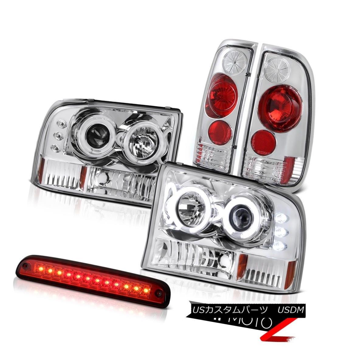 ヘッドライト CCFL Halo Headlights High Stop LED Red Rear Third Brake Lights 99-04 F350 XL CCFL HaloヘッドライトハイストップLEDレッドリア第3ブレーキライト99-04 F350 XL