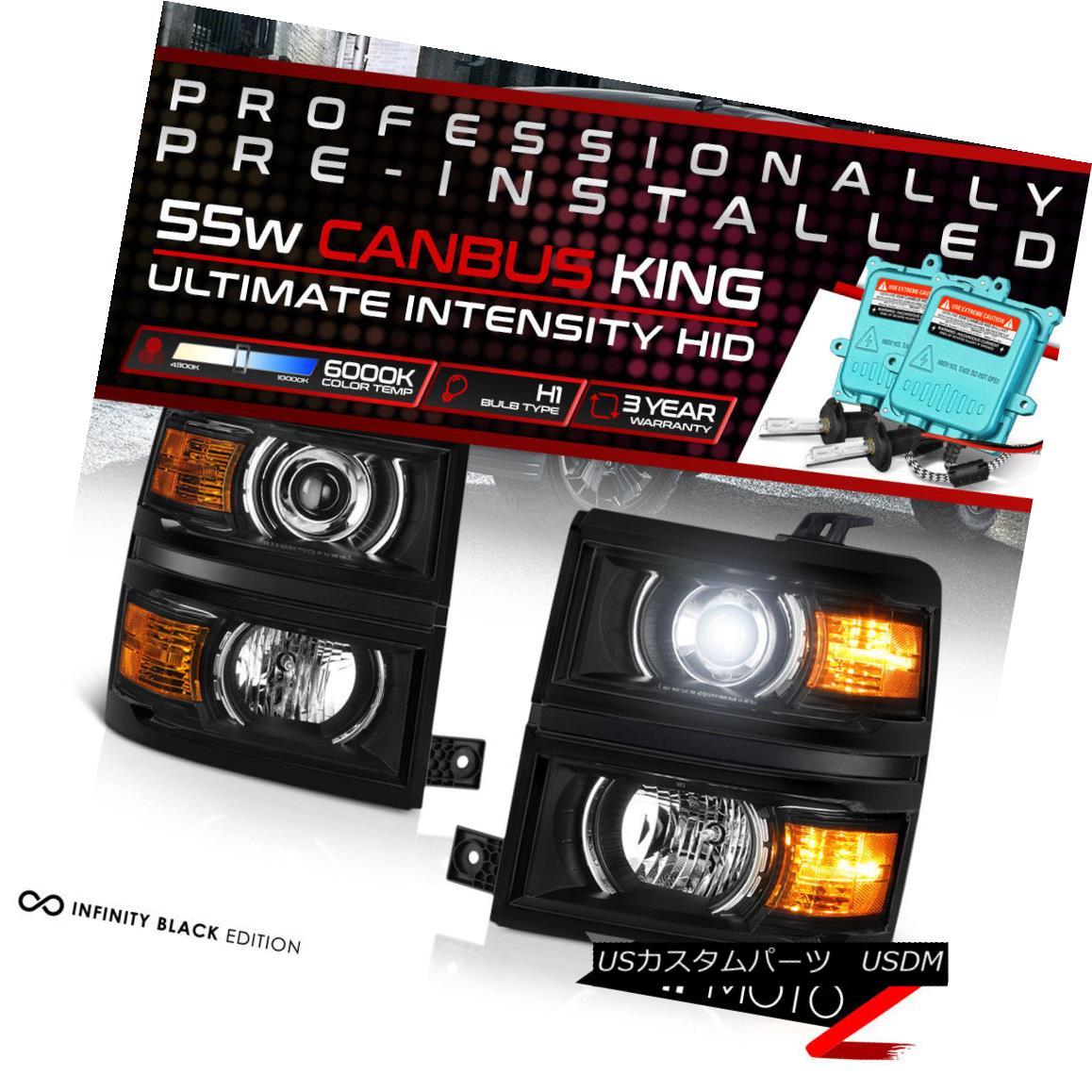 ヘッドライト [55W HID Low Beam] 14-15 Chevy Silverado Black Projector Headlight Amber Corner [55W HIDロービーム] 14-15 Chevy Silverado黒プロジェクターヘッドライトアンバーコーナー