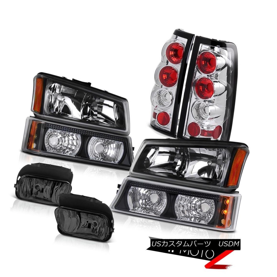 ヘッドライト 03 04 Silverado 6.0L V8 Clear/Black Headlights Signal Bumper Rear Tail Lamps Fog 03 04 Silverado 6.0L V8クリア/ブラックヘッドライト信号バンパーリアテールランプフォグ