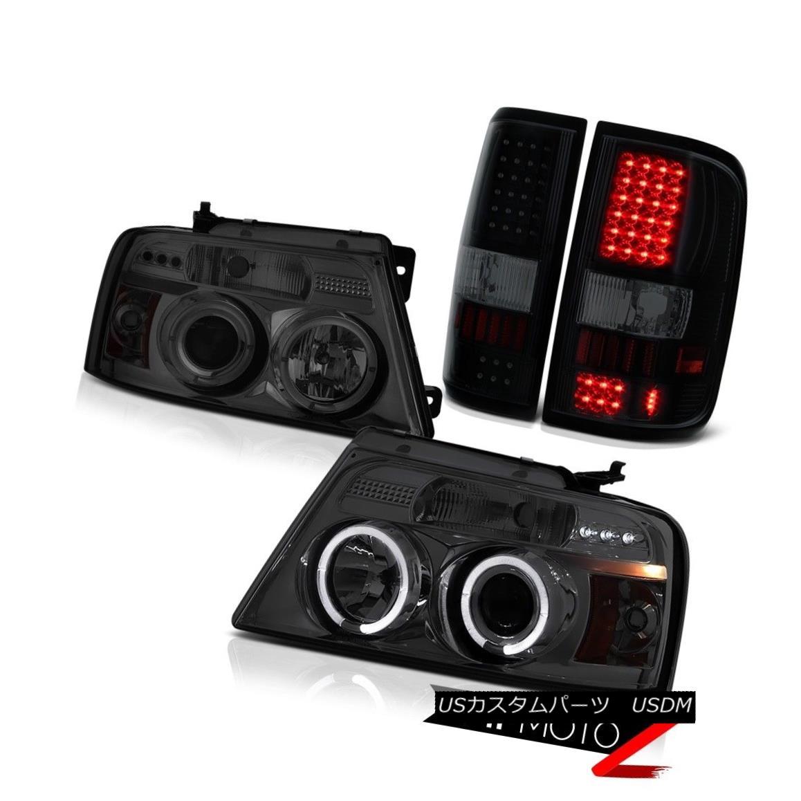 ヘッドライト 04 05 06 07 08 Ford F150 XL Sinister Black Taillamps Titanium Smoke Headlights 04 05 06 07 08フォードF150 XLシニスターブラックタイランプチタンスモークヘッドライト