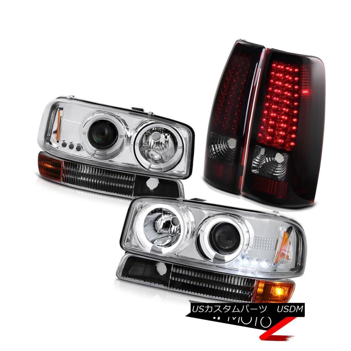 ヘッドライト 2004-2006 Sierra 2500 3500 Headlights Inky Black Bumper Dark Red LED Tail Lights 2004-2006 Sierra 2500 3500ヘッドライトインキブラックバンパーダークレッドLEDテールライト